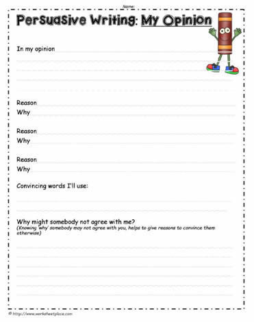 Persuasive Writing Opinion Worksheet