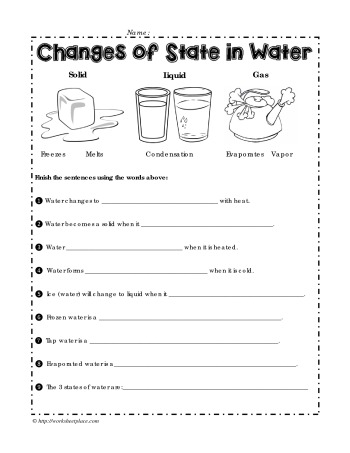 Show How Water Can Change Its State 1st And 2nd Grade Solids Liquids Gases Worksheets Printables