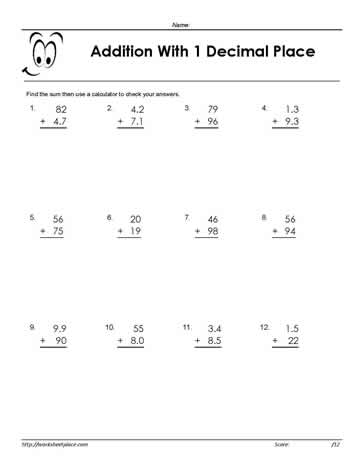 Adding Decimals  Place Worksheets Add The Decimals In The Two Digit Numbers With Up To One Decimal Place  Free Adding Decimal Worksheets And Printables