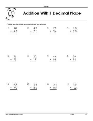 Adding Decimals 1 PlaceWorksheets