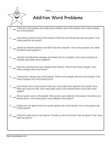 Addition Word Problems to 100