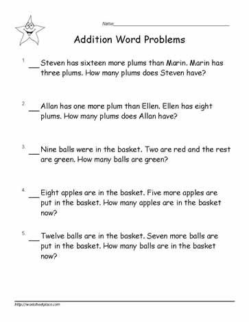 math worksheet : grade 1 word problemsworksheets : Addition Word Problem Worksheet