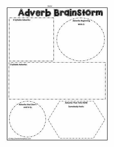 Adverb BrainstormWorksheets