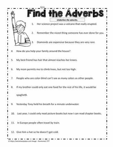 Adverb Worksheet Worksheets