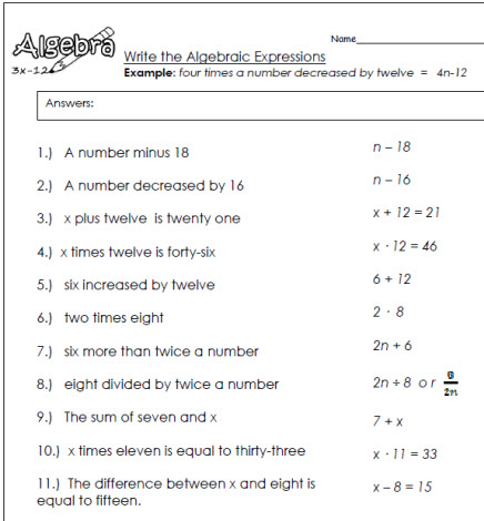write algebraic expressions Algebra 1 - basics worksheets writing variables expressions worksheets this algebra 1 - basics worksheet will create word problems for the students to translate into an algebraic statement.