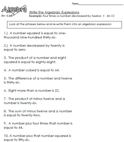 how to write a algebraic expression