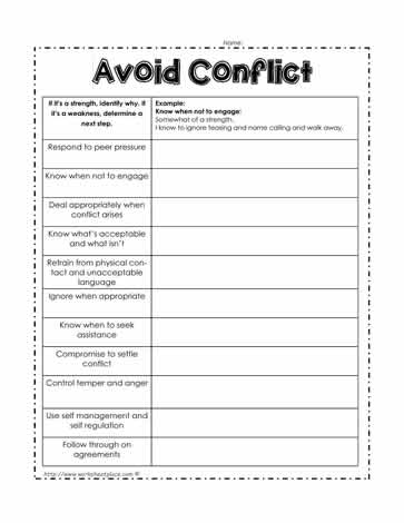 Avoid Conflict Worksheet