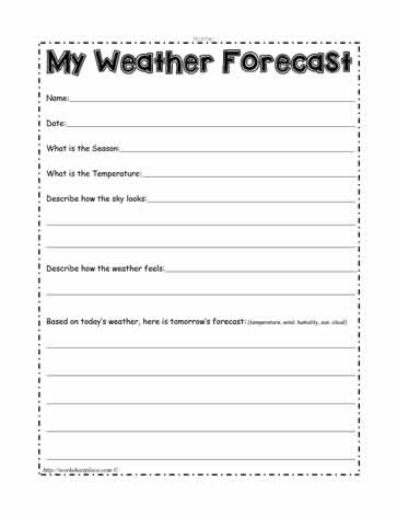 My Weather Forecast Worksheets - Weather forecast printable
