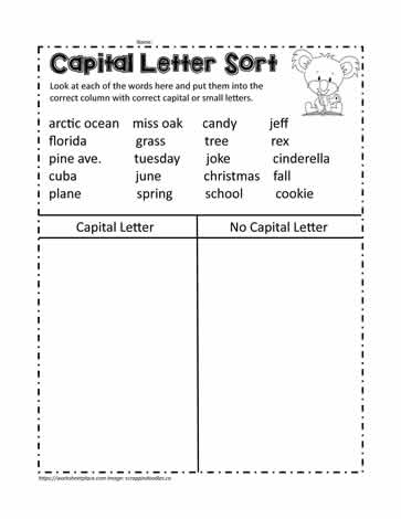 T Chart to Sort the Capital Letters