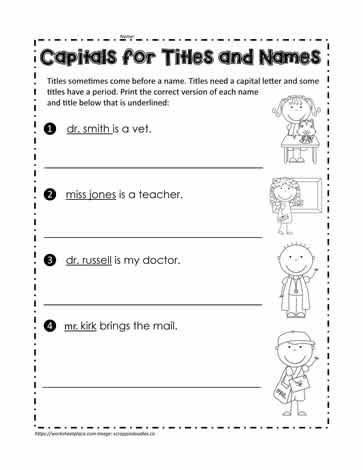 Capital Letters for Titles and Names Worksheets