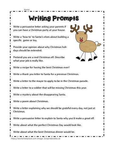 Christmas Writing Prompts.Christmas Writing Prompts Worksheets