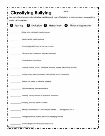 classify bully behaviors worksheets. Black Bedroom Furniture Sets. Home Design Ideas