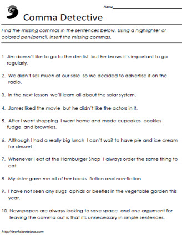 Commas worksheets grade 6