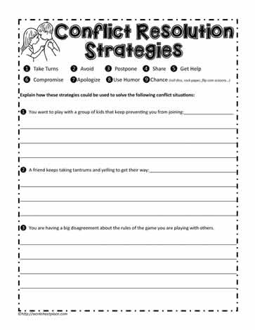Conflict Resolution Worksheet