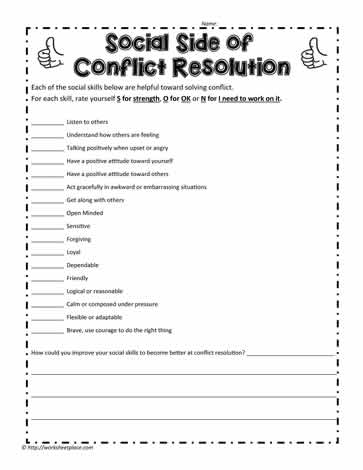 Conflict And Social Skills Worksheets
