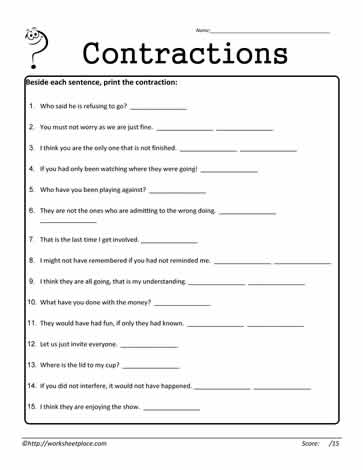 Contractions Worksheet 13