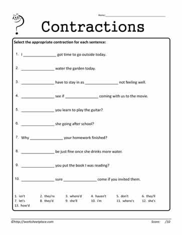 Contractions Worksheet 12