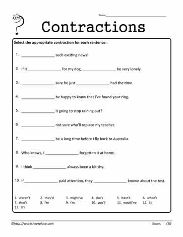 Contractions Worksheet 11