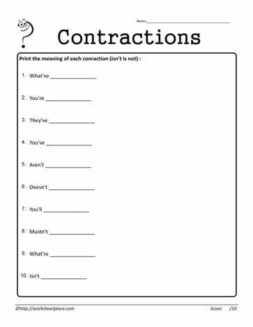 Contractions Worksheet 15
