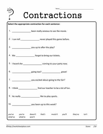 Contractions Worksheet 10 Worksheets