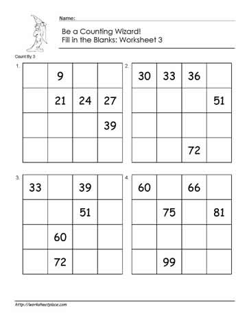 Count by 3 - Worksheet 2