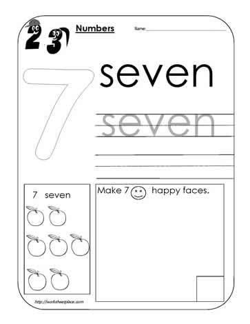 Number 7 Worksheet Worksheets
