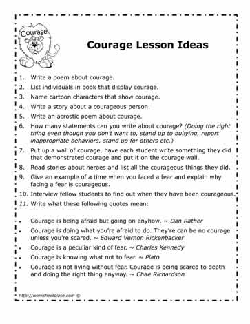 Courage Lesson Ideas