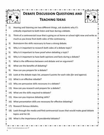 Debate Teaching Ideas and Questions