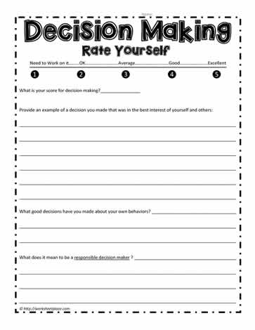 Brilliant Ideas of Decision Making Skills Worksheets With Letter ...