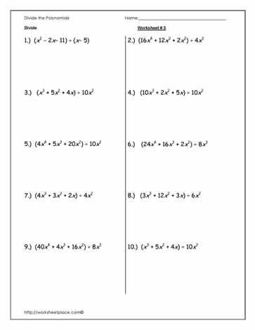 Divide Polynomials Worksheet 3 Worksheets