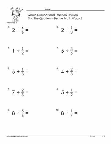 Divide fraction by whole number game, worksheet, quiz, flash card