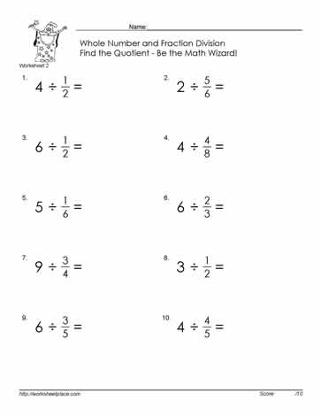 Divide Fractions By Whole Number 2 Worksheets