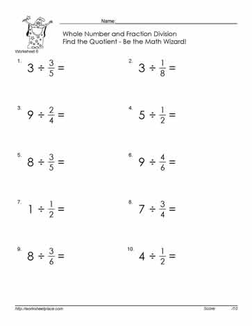 Divide Fractions By Whole Number-6 Worksheets