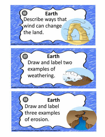 Earth Processes Task Cards