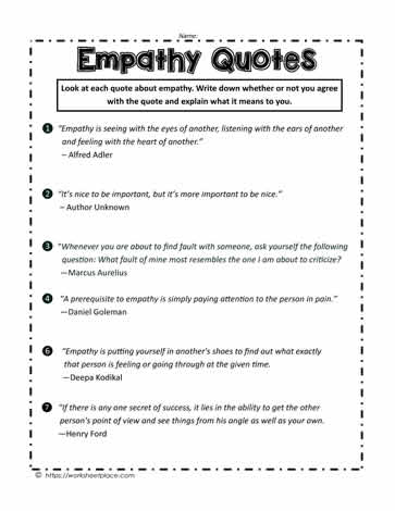 Empathy Quotes Worksheets