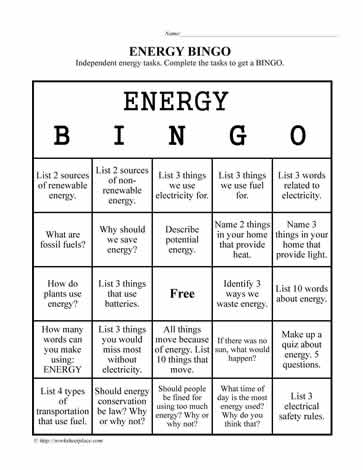 Energy worksheets for 3rd grade