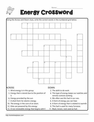 Energy Crossword Worksheets