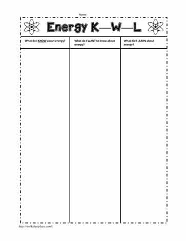 KWL Energy Worksheet