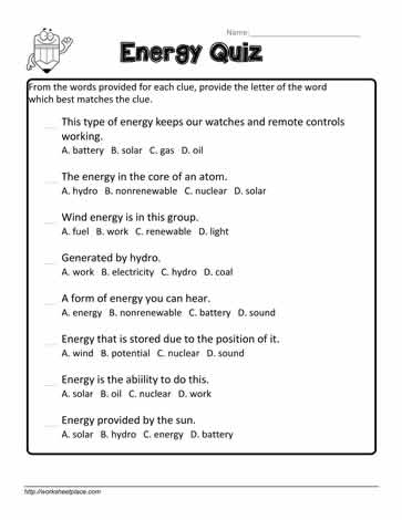 Energy Quiz Worksheets
