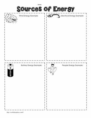 Sources of Energy Worksheets