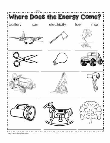 Energy Sources Worksheets