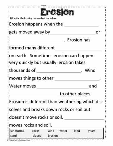 Cloze Activity for Erosion
