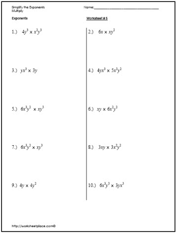 Simplify Exponents Worksheets