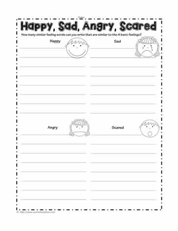 Happy Sad Angry Scared Worksheets