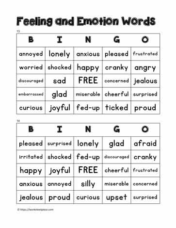 Feelings Bingo 13-14