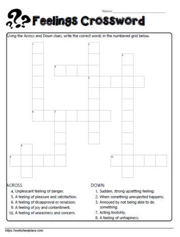 Feelings Crossword 2 Worksheets