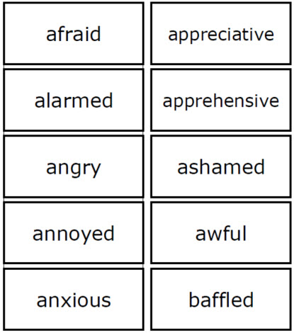 Words To Describe Feelings Worksheets
