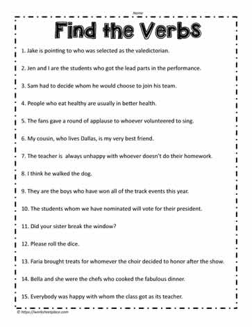 In this verb worksheet, you need to find all the verbs in the ...