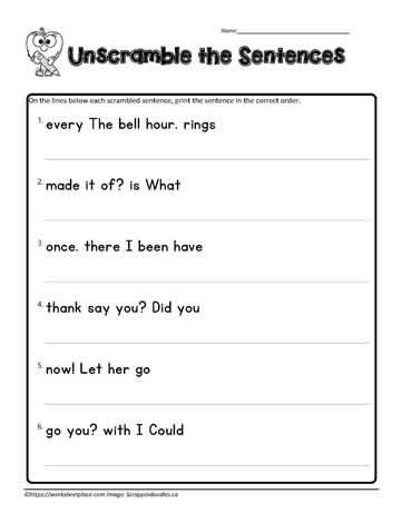 First Grade Scrambled Sentences Worksheets