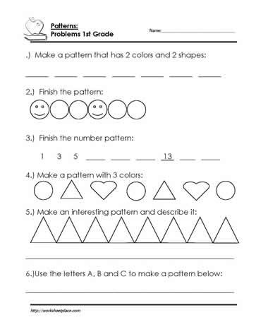 Finish the Pattern Worksheet Worksheets
